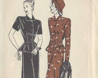 """1940s Vintage Sewing Pattern B36"""" TWO-PIECE DRESS (R387)"""