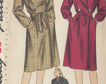 1945 Vintage Sewing Pattern B34 COAT (R84) Simplicity 1411
