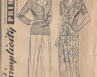"1940s Vintage Sewing Pattern B34""-W28"" TROUSERS-JACKET/SHIRT (114)"