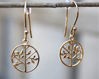 tree of life gold plated earrings 18 ct 3 microns