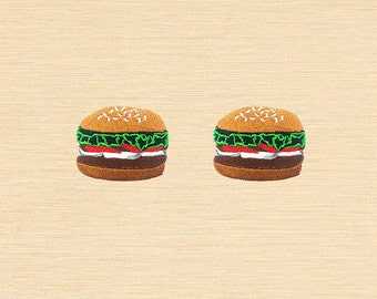 Set of 2 pcs Mini Hamburger Burger Fast Food Iron On Patches Sew On Aplliques