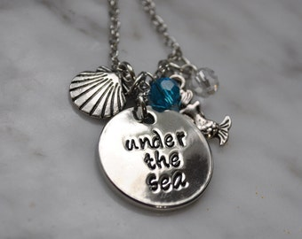 The little mermaid inspired necklace-Under the Sea, Fast Shipping, Necklace-Disney's the Little Mermaid Necklace, Mermaid Jewelry