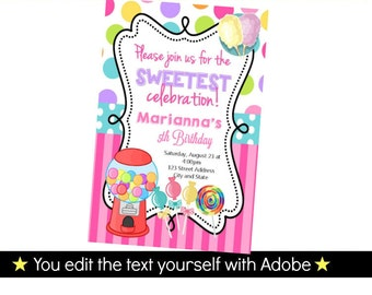 Candyland Invitations - Candy land Birthday Invitation - Candy Invitatioins - Candyland Birthday INSTANT PDF DOWNLOAD