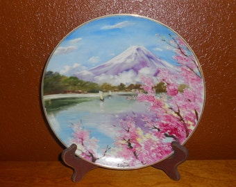 Vintage Handpainted Plate - Mountain Lake Landscape - Japanese Scene - Decorative Handpainted Plate - Beautiful Plate - Collectible Plate