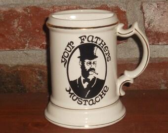 Vintage Porcelain Stein - 'YOUR FATHER'S MUSTACHE' Mug - Vintage Drinking Mug - 1970's Mug - Royal Crown Mug - Great Gift for Dad