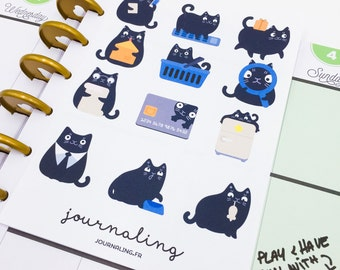 12 stickers chat noirs ou beiges pour planner ou bullet. Made in France.