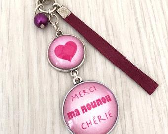 My nanny Keyring bag charm has message theme thank you pink. REF.65