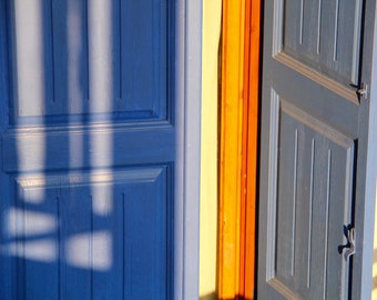 Colorful Doors Photograph – Architectural Travel Photograph Blue, Orange And Gray Exterior Terrace Shutter Doors Shutters Limited Edition