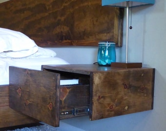 Floating nightstand/ Floating Drawer/ Bedside table/ Modern Nightstand/ Floating Bedside Table/Wooden Floating Nightstand/Bedroom Furniture