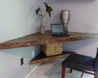 Floating Corner Desk/ Modern Corner Desk/ Floating Shelves/ Wood Desk/ Computer Table/ Writing Desk/ Corner Table/ Laptop Desk