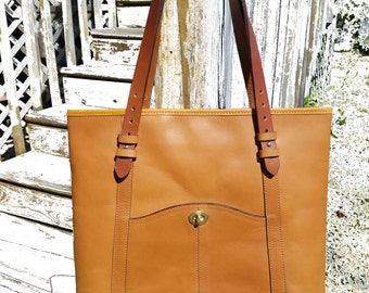 All Leather Dakota Saloon Tote - Tan