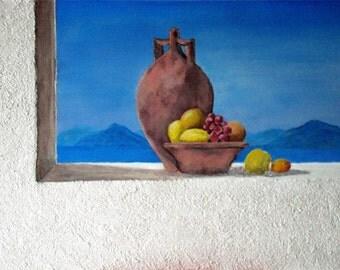 "Greek set, acrylic painting, ""(not so) still life"""