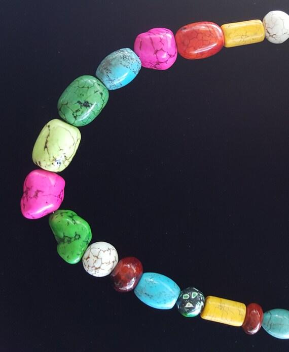 Multi-colored Beaded Necklace/ Southwestern Necklace /  Chunky Stone Necklace / Hippie Necklace / Natural Stone / Boho Jewelry /NA61071