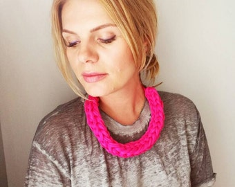 T Shirt Yarn Necklace Pink Chunky Knitted Necklace Upcycled Necklace