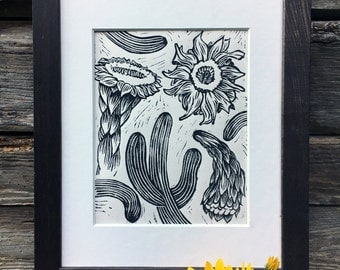 Saguaro Cactus - Block Print
