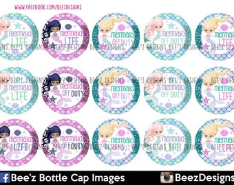 33% off SALE- INSTANT DOWNLOAD- Mermaid life- 1inch Bottlecap Images- 4x6 Digital Collage Sheet