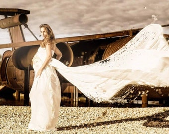 Zarah Cream wedding maternity dress with chiffon trains/wedding gown/bridal dress/evening gown/party dress/wedding dress