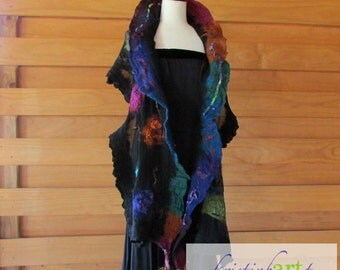 Silk Jewel Wrap / Handmade Felted / Women's Gift Idea / Merino Wool / Sari Silk / Black / Blue / Teal / Pink / Purple / Rust / Art