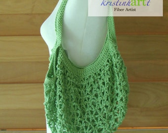 Mesh Shopping Bag in Apple Green / Handmade Crochet / Women's Gift Idea / Cotton  / Market Bag / Beach Bag