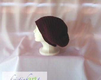 BOHO Slouchy Hat / Handmade Crochet / Women's Gift Idea / Men's Gift Idea / Burgundy / Acrylic / Adult Size / Warm