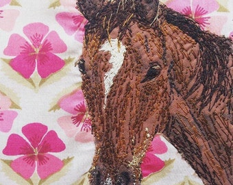 Bespoke Horse Portrait, Handmade, Embroidered, Pet Portrait