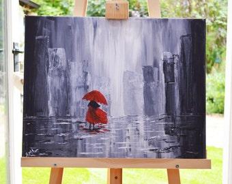Rainy Day Landscape Impressionist Painting Artwork