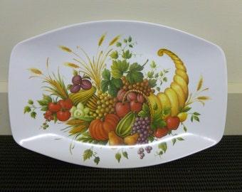 Vintage Retro Melamine Fruits Melmac Hollywood 'Horn of Plenty' Vegetables Serving Tray/Platter/Plate