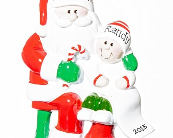 Santa Visit Personalized Ornament- Free Gift Bag Included