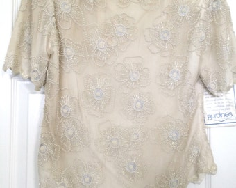 Vintage Laurence Kazar Beaded Top - Silk, off-white, Large