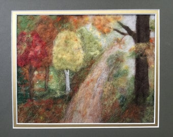 Needle and Wet Felted Wool Fiber Painting - Fall Lane