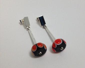 Long earrings// Red and black earrings//Murano earrings//Lampwork earrings//glass and sterling silver earrings//