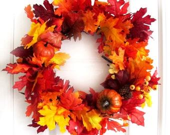 Fall Wreath, Autumn Wreath, Fall Leaves Wreath, Autumn Leaves, Front Door Decor