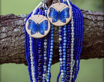 "Hand painted wooden earrings ""blue butterflies"""