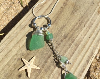 Beautiful Cornish sea glass and Adventurine necklace set.