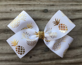 Gold and White Pineapple Bow
