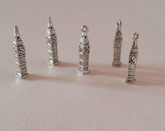 5 Big Ben charms 3D / bulk Big Ben pendants / Clock tower / clock charms / Elizabeth tower / tower / London charms / England / queen charms