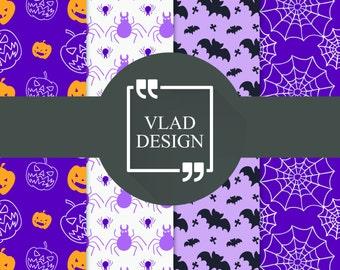 4 Design Halloween purple patterns Ready to print patterns Halloween party patterns Digital paper pack Scrap Halloween design