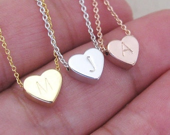 Heart Charm Necklace– Gold, Silver or Rose Gold Initial Hand Stamped Heart Charm