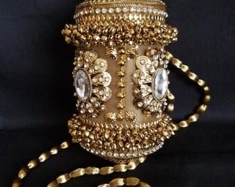 Gold Metal mesh Austrian Crystal shoulder strap evening party clutch purse