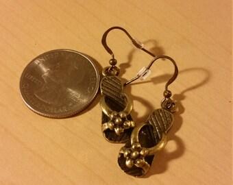 Bronze flower flip flop earrings