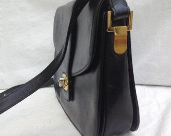 80s Italian leather Bag   Shoulderbag Made in Italy   Vintage shoulder bag   Florenti   80s vintage bag   black leather Bag