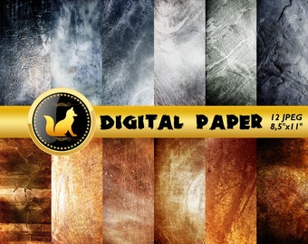 Orange Grey Distressed Background,Old Wall Scrapbook Paper,white Paper,Chilled paint Background,Old Wall Backdrop,digital paper,grey paper