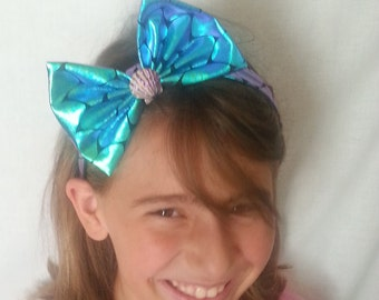 "1"" Color Changing Mermaid Scale Headband with Bow"