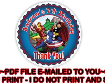 YOU PRINT - Avengers Birthday Thank you Sticker, Avengers Thank you Gift tag, Avengers Cupcake Toppers, Avengers Goody Bag labels - BIRTHM23