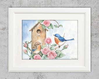 Watercolor Summer Birds Print Art - Instant Download - Songbirds Watercolor Printable - Watercolor Printable - Home Decor - Birdy Print