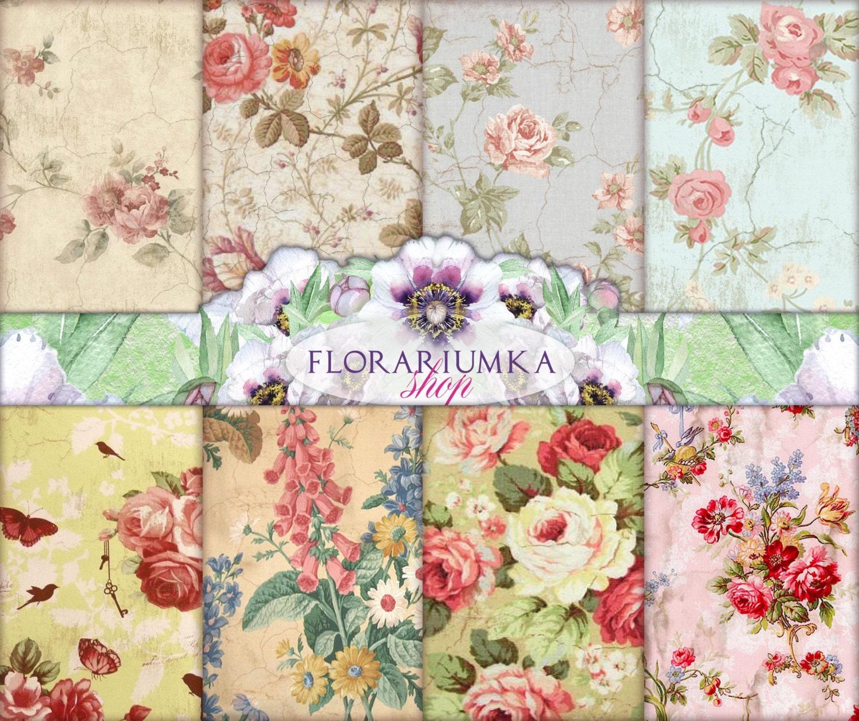 Scrapbook paper designs download - Sunny Decoupage Download Shabby Digital Scrapbook Paper Vintage Floral Backgrounds Shabby Roses Download Vintage Digital F 77