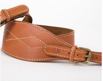 Shoulder strap for carbine realized with calf-skin leather 9 cm wide