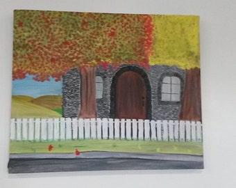 Stone Cottage in Autumn