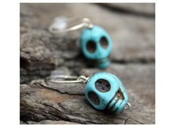 Silver Turquoise Skull Earrings