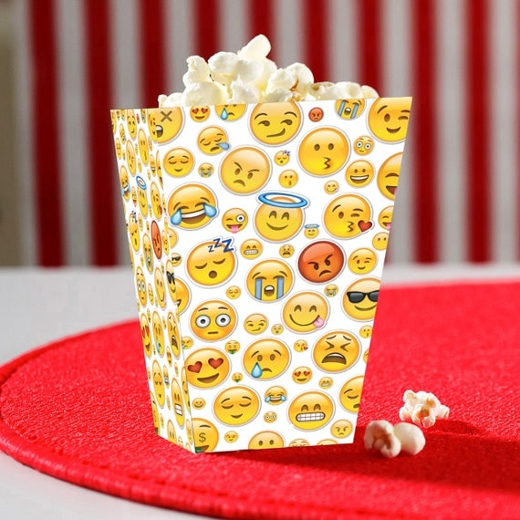 Emoji Collage Digital Printable Popcorn Container
